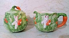 "White Bunnies W/Carrots on Cabbage Cream & Sugar -Home Trends ""Springtime"" NIB"