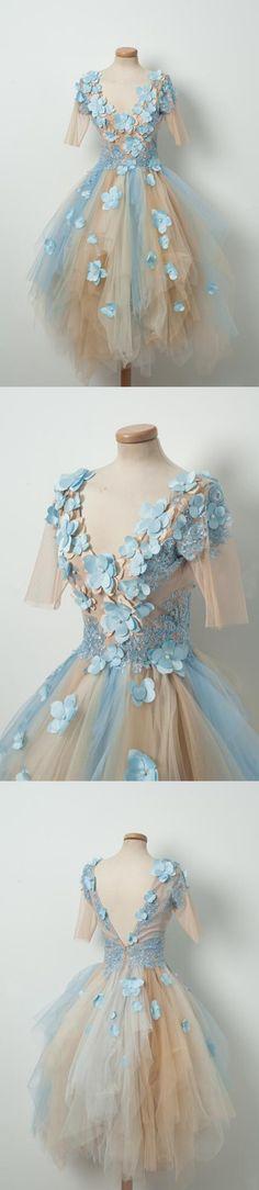 Short Homecoming Dress, Tulle Homecoming Dress, Applique Homecoming Dress, V-Neck Junior School Dress, Knee-Length Graduation Dress, V-Back Homecoming Dress, LB0469