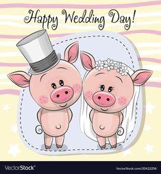 Greeting card piggy bride and piggy groom vector Baby Animals, Cute Animals, Frog Illustration, Pig Crafts, Happy Wedding Day, Cute Piggies, Little Pigs, Budget Wedding, Cute Cartoon