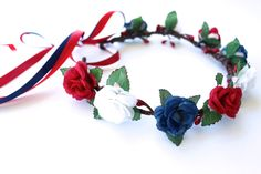 4th of July Red White and Blue Flower Crown