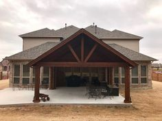 Full Gable Patio Covers Gallery - Highest Quality Waterproof Patio Covers in Dallas, Plano and Surrounding Texas Tx. Backyard Covered Patios, Covered Patio Design, Backyard Patio Designs, Outdoor Patios, Outdoor Spaces, Outdoor Decor, Back Patio, Patio Roof, Porch Extension