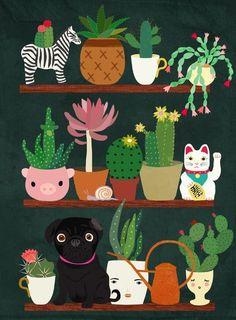 Cacti and Pug on blackboard Art Print by Elisandra                                                                                                                                                                                 Más
