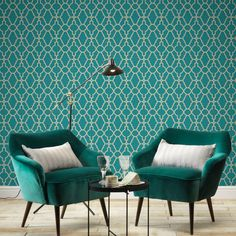 This vinyl Casablanca Trellis Fretwork Wallpaper in Teal and Gold a classic geometric fretwork design with a modern twist of metallic elements on a textured background. Teal And Gold Wallpaper, Paper Wallpaper, Vinyl Wallpaper, Geometric Wallpaper, Teal Wallpaper Living Room, Teal Rooms, Teal Living Rooms, Teal Walls, Salon Art Deco