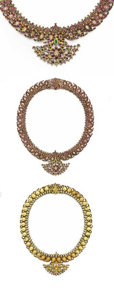 South India - Tamil Nadu | 'Manga Malai' necklace; gold inset with diamonds, rubies and emeralds. The row of pendants take the form of mango fruit | ca. 19th century | 50'000 - 70'000£ ~ (June '15)