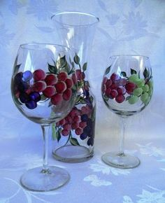 Grapes Wine Decanter Set by Morningglories1 on Etsy,