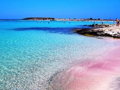 Pink beach elafonisi Crete, Greece