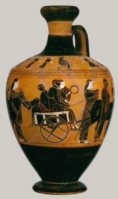 Terracotta lekythos (oil flask) Attributed to the Amasis Painter Period: Archaic Date: ca. 550–530 B.C. Culture: Greek, Attic Medium: Terracotta; black-figure Dimensions: H. 6 7/8 in. (17.5 cm)
