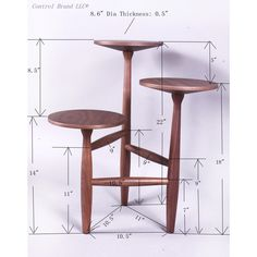 Tripod and Pedestal Side Table: 14''-22'' 2