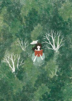(c) Akira Kusaka Forest Illustration, Simple Illustration, Character Illustration, Simple Art, Pretty Art, Conte, Figurative Art, Akira, Art Drawings