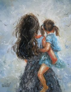 Mother Daughter Print of original painting by VickieWadeFineArt