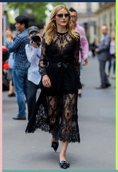 Olivia Palermo did gothic for day in an all-black Elie Saab dress at Paris Couture Fashion Week. Cinching her waist with a knotted leather belt, OP played up the witchy vibe with some pointed flats and a pair of jewel-covered cat-eye sunnies