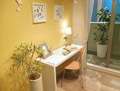 K351 黄色の効果 黄色い壁には集中力をアップさせる効果もあるので、勉強部屋にはもってこいかも!?