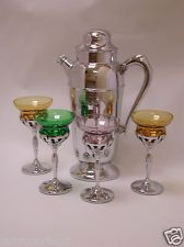 Vintage Morgantown Chrome Cocktail Shaker & 4 Chrome/Colored Glass Glasses