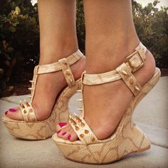 Classic pair of ankle strap pumps with an adorable bow accent for added detail. Soft suede-like material with curved toe finish. Hot High Heels, Platform High Heels, Sexy Heels, Womens High Heels, Shoes Heels Wedges, Wedge Heels, Beautiful High Heels, Bare Foot Sandals, Ankle Strap Heels