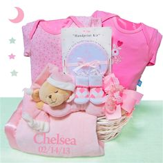 190 best gift baskets wagons images on pinterest baby gift personalized sleepy bear baby girl gift basket negle Gallery