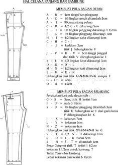 Risultati immagini per pola celana wanita Dress Sewing Patterns, Clothing Patterns, Fashion Sewing, Fashion Dolls, Women's Fashion, Sewing Tutorials, Sewing Projects, Sewing Pants, Fashion Vocabulary