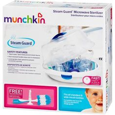 Munchkin Steam Guard Microwave Sterilizer with Deluxe Bottle Brush