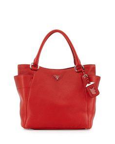 Prada Daino Side-Pocket Tote Bag, Red (Rosso) by Prada at Neiman Marcus. $1595