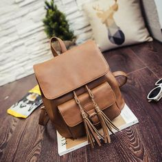 2016  Fashion Fringed Shoulder Bag Backpack Schoolbag Tide Wild Package