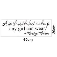 Una sonrisa es el mejor maquillaje cualquier chica puede usar MARILYN MONROE pegatinas de pared decoración Girls etiqueta de la pared en Pegatinas de Pared de Casa, cocina y Jardín en AliExpress.com | Alibaba Group