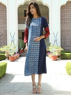 Indigo Hand Block Printed Monga Silk Dress India Fashion, Girl Fashion, Fashion Design, Indian Attire, Indian Wear, A Line Kurti, Kurta Patterns, Churidar Designs, One Piece Dress