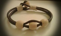 Brown leather cord with wooded beads
