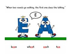 """Free printable poster pack. """"When two vowels go walking, the first one does the talking."""""""