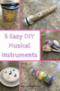 5 Easy DIY musical instruments to make with your children. Kids love music, and learning music helps build STEM skills! Practice counting, learn rhythms, and recognize patterns with these easy to make instruments. Preschool Music Activities, Movement Activities, Toddler Activities, Preschool Activities, Diy Preschool Toys, Kindergarten Music, Preschool Learning, Toddler Crafts, Instrument Craft