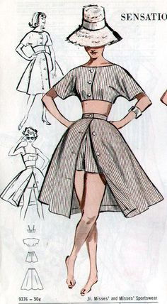 Butterick 9376 vintage sewing patterns fandom powered by wikia free style sewing patterns Fashion Sewing, Diy Fashion, Ideias Fashion, Skirt Fashion, Fashion Dresses, Fashion Tips, 1950s Fashion, 1950s Summer Fashion, Dresses Art