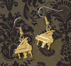Baby Grand Piano Earrings 24 Karat Gold Plate Symphony Orchestra Band Music Teacher Gift EG487 by NostalgicCharm on Etsy