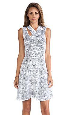 McQ Alexander McQueen Crocodile Body Con Dress in Optic White & Black