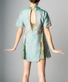 Love this Sage & Aqua Floral Silk-Blend Cutout Tunic by Nuvula on #zulily! #zulilyfinds