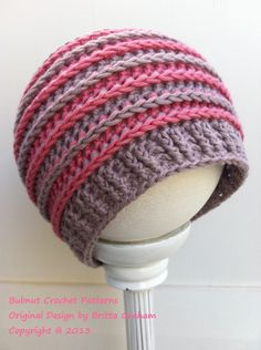 Crochet hat pattern in newborn baby kids and ladies sizes using DK yarn No.306 Digital Download