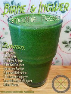 Grüner Smoothie mit Birne, Ingwer, Gerstengras, Spinat, Sellerie, Banane, Trauben und Zitrone