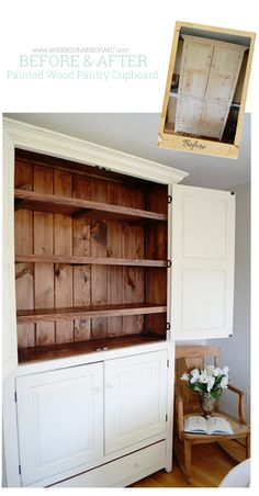 Check out this transformation of a bare wood cupboard into a beautiful kitchen pantry | andersonandgrant.com