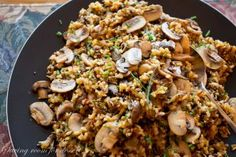 Wild Rice and Mushroom Pilaf - easy & delicious make-ahead side dish. Loaded with mushrooms, this pilaf has a nutty flavor from the wild rice blend.