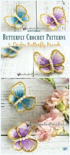 Ombre Butterfly Brooch Free Crochet Pattern - Free #Butterfly; #Crochet; Patterns