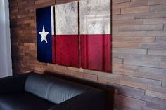 Triptych Texas State Flag hanging Rustic Worn Metal Wall Art Grunge
