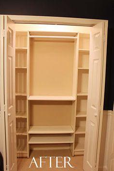 our under 100 closet system ikea hack, closet, shelving ideas, Closet Same amount of Space More Organization Kid Closet, Closet Bedroom, Cheap Closet, Closet Redo, Closet Ideas, Master Closet, Hall Closet, Closet Doors, Entryway Closet