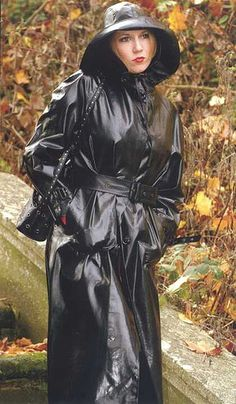 Shiny Black Rubber Raincoat & Hat