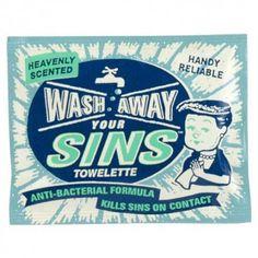"""Verfrissende Tissues  """"Wash Away Your Sins"""" Perfect cadeautje voor degene, die niet zonder zonden zijn dus al je vrienden.  #originele cadeaus"""
