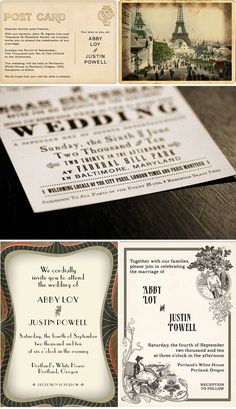 Interesting concept for the back of the postcard (top left) - instead of a standard save-the-date, it could be written more like a letter.