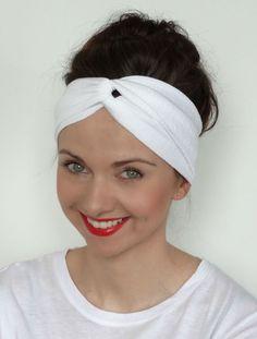 Opaska turban elastyczna bawełna biała w Milori na DaWanda.com