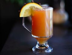 Brooklyn hot toddy, made with NY Distilling Rock & Rye, St. Agrestis amaro, lemon and honey at Anfora in New York City