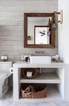 Pequeño baño moderno con mueble de obra
