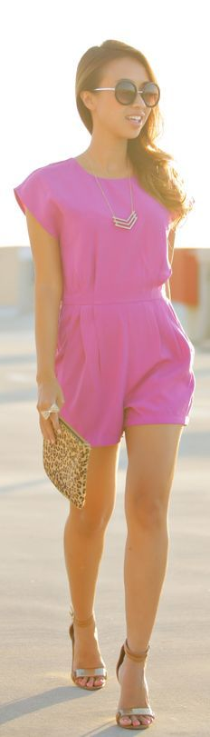 Pink waist pleats sleeveless playsuit, flat sandals and clutch. Amazing summer combinations 2015.