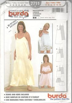 75812759e1 Burda 2711 Misses Nightgown Two Lengths Pajamas Camisole Shorts Pattern  Pyjamas Womens Sewing Pattern Size 8 10 12 14 16 18 UNCUT