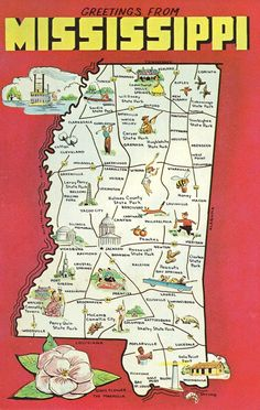 Mississippi State Map Vintage Postcard by @theheritageohio, $2.75