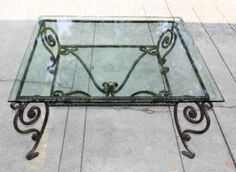 "Beveled Glass Top Coffee Occasional Table Antique Gold Iron Base 44x44"" B New"