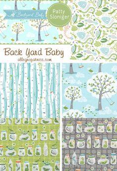 Michael Miller Backyard Back Yard Baby Fabric Bugs in Jars Butterfly Snake Gray.